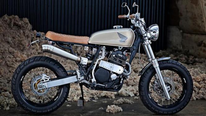 Motocross Honda XR600 yang dimodifikasi menjadi motor klasik. Ilustrasi