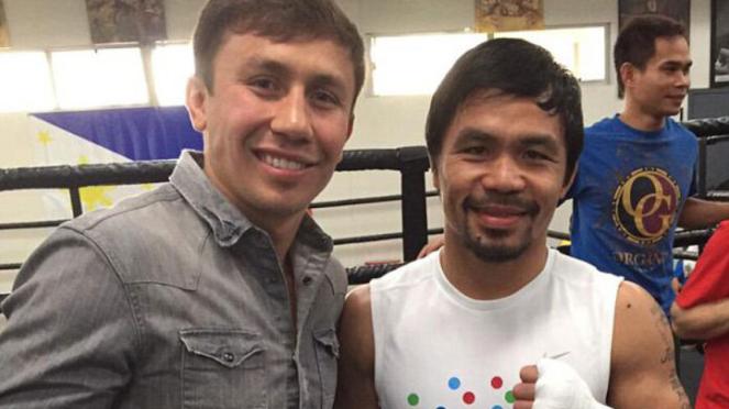 Manny Pacquiao (kanan) dan Gennady Golovkin