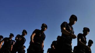 Pasukan Brimob saat berbaris (foto Ilustrasi)