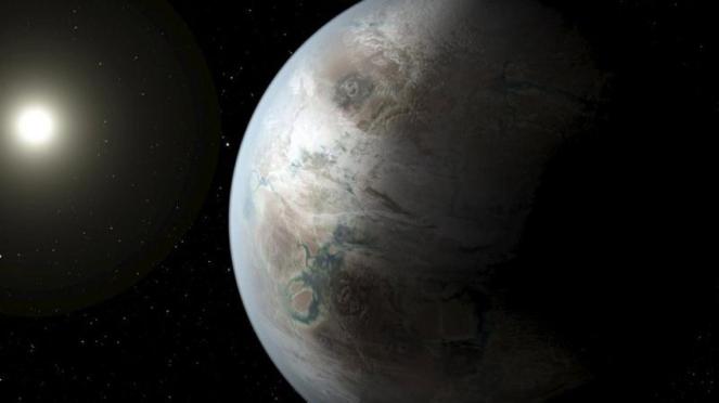 Ilustrasi planet dan Bumi.