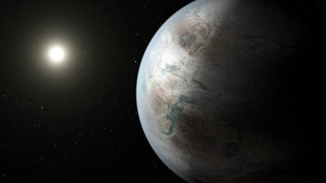 Gambar rekaan planet Kepler 452b yang dibuat oleh seniman.