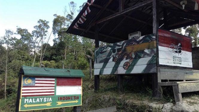 Pos perbatasan Indonesia-Malaysia di Long Nawang, Kecamatan Kayan Hulu, Kabupaten Malinau, Kalimantan Utara.