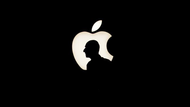 Logo Apple Inc. dan salah satu pendirinya, mendiang Steve Jobs.