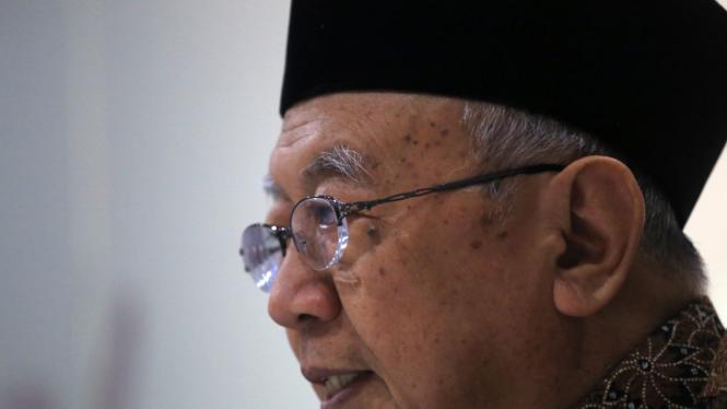 KH Salahuddin Wahid (Gus Sholah) saat berkunjung ke kantor VIVA.co.id di Jakarta.