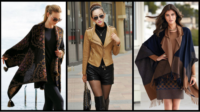 Ilustrasi gaya poncho dan jaket kulit