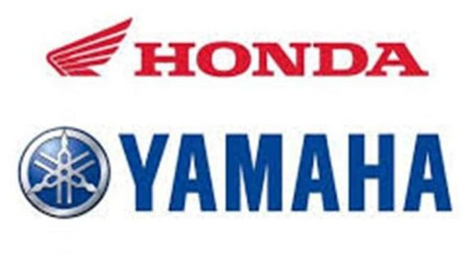 Logo Honda dan Yamaha. Dua pabrikan Jepang ini dituding melakukan kartel harga skuter matik 110-125cc.