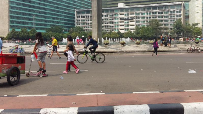 Suasana Bundaran HI saat Car Free Day.