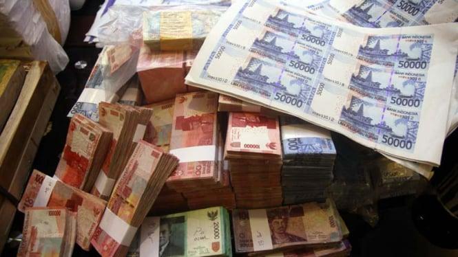 Ilustrasi uang palsu.