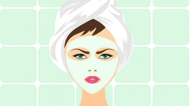 Ilustrasi wanita mengenakan masker