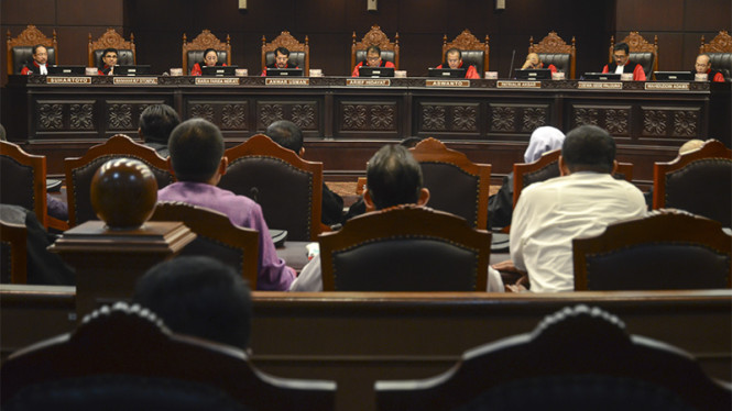 Ilustrasi suasana sidang di Mahkamah Konstitusi.