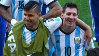 Sergio Aguero (kiri) dan Lionel Messi (kanan)