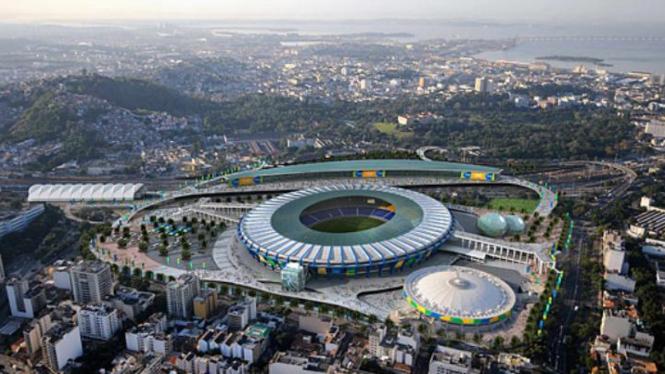 Pemandangan Kota Rio de Janeiro, Brasil, dengan stadion megahnya.