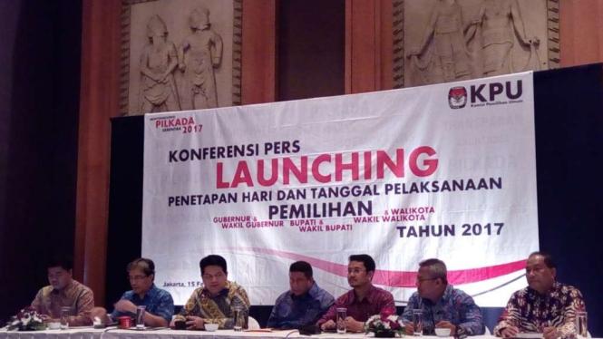 Peluncuran tanggal pelaksanaan Pilkada Serentak 2017 oleh KPU.