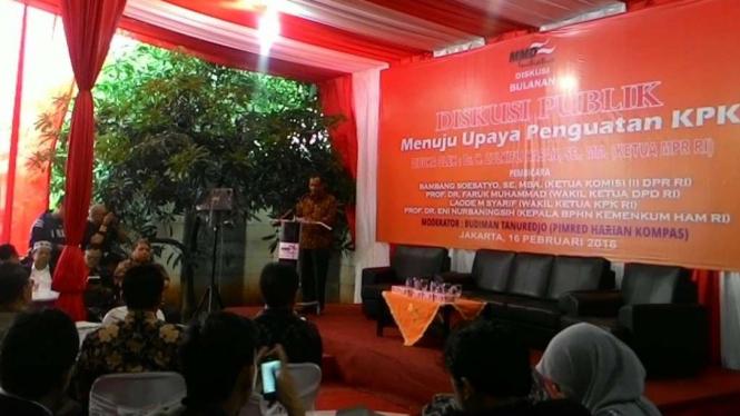 Mahfud MD dalam diskusi soal penguatan KPK, Jakarta (16/2/2016)