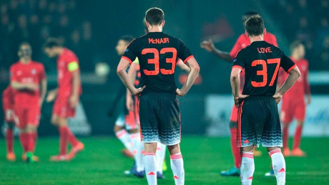 Pemain Manchester United usai kekalahan dari Midtjylland