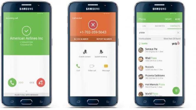 Tampilan Caller ID anti spam di perangkat Galaxy S7
