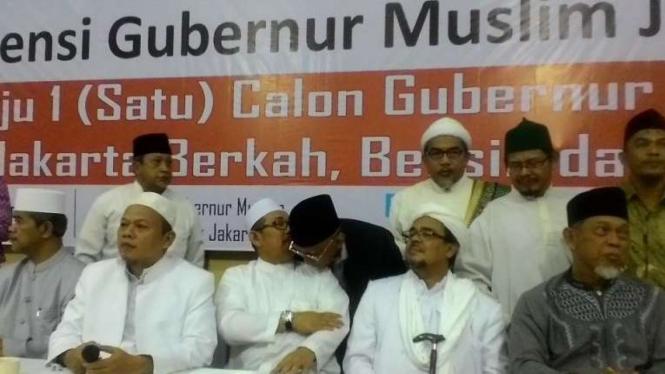 Jumpa pers Konvensi Gubernur Muslim Jakarta di Jakarta, Kamis (25/2/2016)