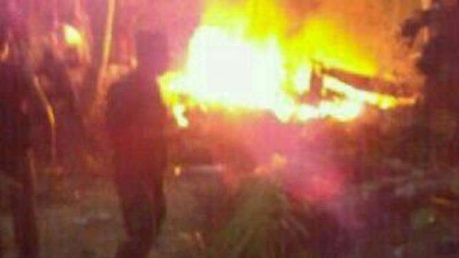 Kondisi helikopter TNI AD yang jatuh di Poso.