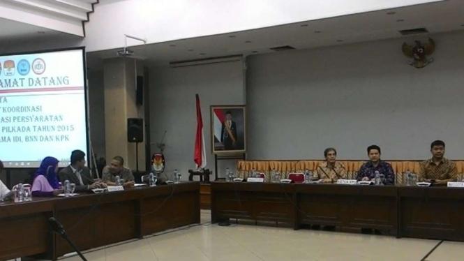 Pertemuan KPU dan pihak KPK serta BNN di Jakarta (21/3/2016)