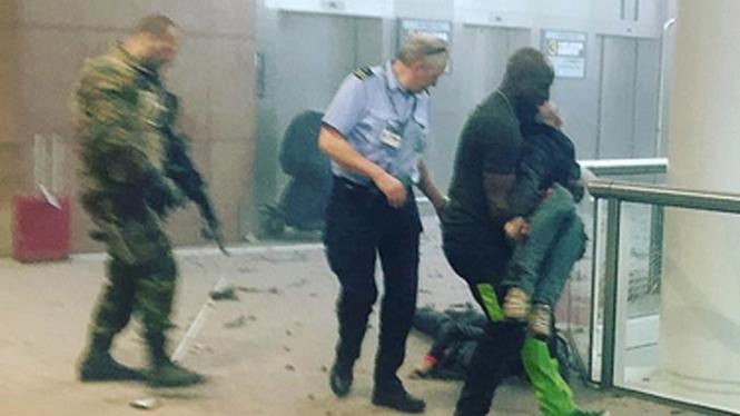 Sejumlah orang terluka akibat ledakan di bandara internasional Zaventem, Brussels, Belgia, Selasa pagi, 22 Maret 2016.