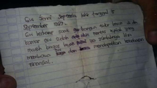 Surat yang ditemukan di lokasi bunuh diri kakak beradik di Depok