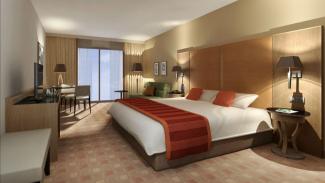 Ilustrasi kamar hotel.