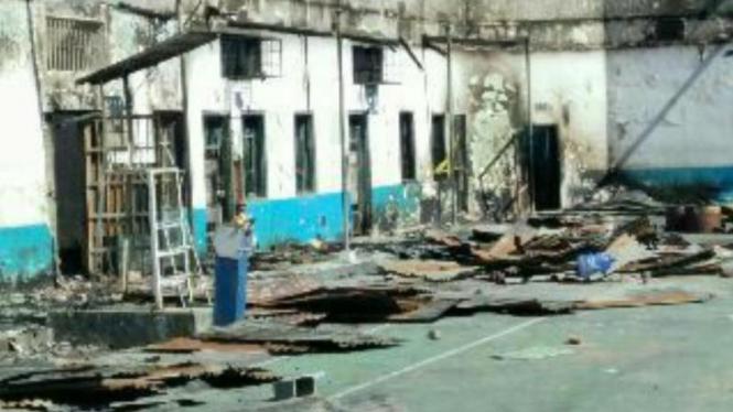 Kondisi Rutan Bengkulu pasca kebakaran dan kerusuhan.