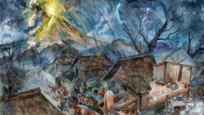 Lukisan meletusnya gunung Tambora