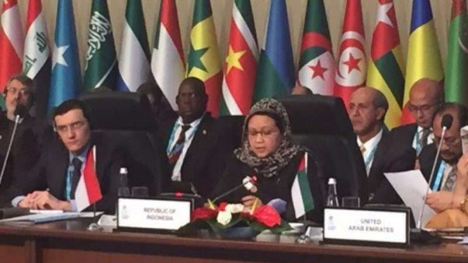 Menteri Luar Negeri, Retno LP Marsudi, dalam KTT OKI di Istanbul, Turki, beberapa waktu lalu. Ide pemerintah Indonesia untuk menyelesaikan konflik Palestina dijadikan resolusi oleh organisasi ini.