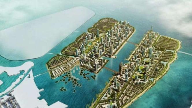 Rencana reklamasi Teluk Jakarta oleh pengembang.
