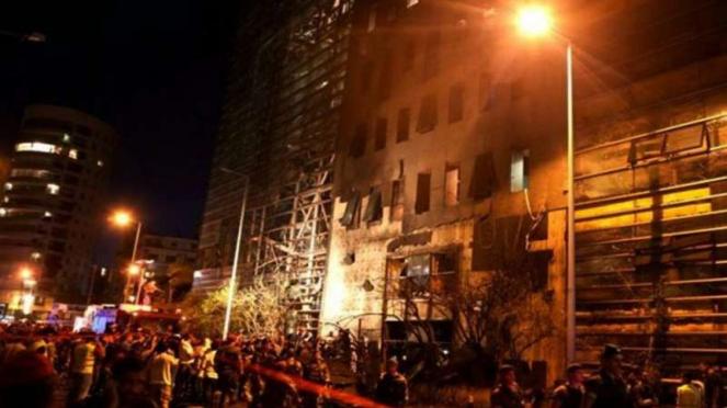Ledakan terjadi di depan Bank Blom di Hamra, Beirut, Lebanon.