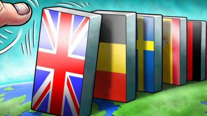 Ilustrasi Efek Domino jika Inggris keluar dari Uni Eropa.