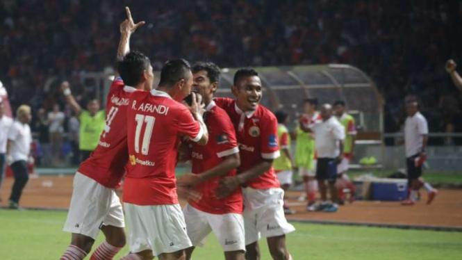 Selebrasi gol para pemain Persija Jakarta.