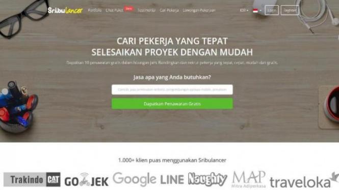 Tampilan website Sribulancer.
