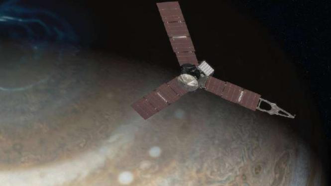Ilustrasi pesawat Juno mendekati Planet Jupiter.