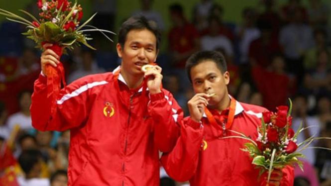 Markis Kido/Hendra Setiawan merebut medali emas Olimpiade Beijing 2008