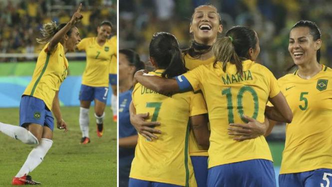 Striker timnas putri Brasil, Marta, merayakan gol di Olimpiade 2016