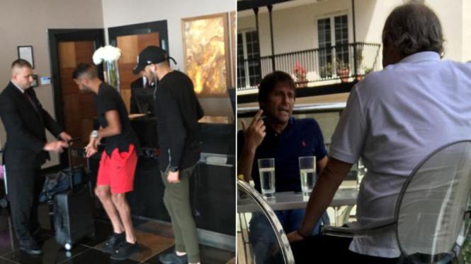 Riyad Mahrez (kanan) di hotel tempat pemain Chelsea biasa menginap