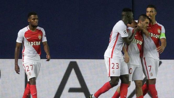 Selebrasi gol dari para pemain AS Monaco