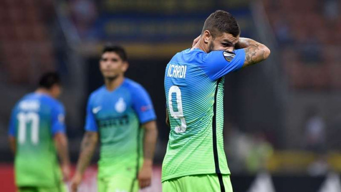Pemain Inter Milan, Mauro Icardi, di Liga Europa