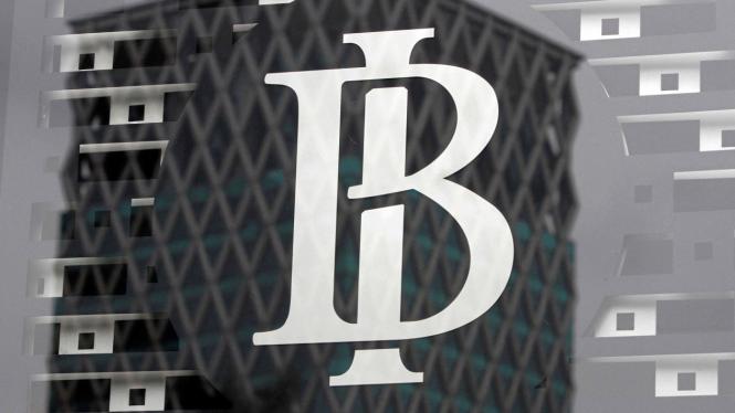 Logo Bank Indonesia yang tertera di kantor Bank Indonesia di Jakarta.