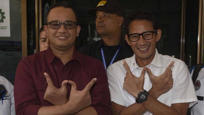 Salah satu pasangan Cagub dan Cawagub DKI Jakarta, Anies Baswedan dan Sandiaga Uno.