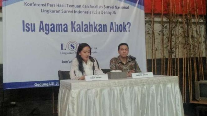 Konferensi pers LSI mengenai elektabilitas Ahok