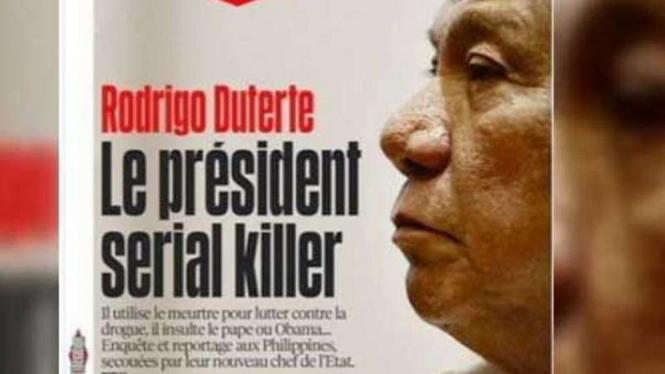 Presiden Filipina Rodrigo Roa Duterte jadi cover Harian Liberation.