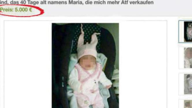 Bayi dijual di situs eBay