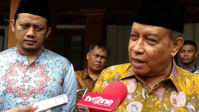 Ketua Umum Nahdlatul Ulama, Said Aqil Siroj, di kantor Kementerian Koordinator Bidang Politik, Hukum dan Keamanan di Jakarta pada Jumat, 14 Oktober 2016.