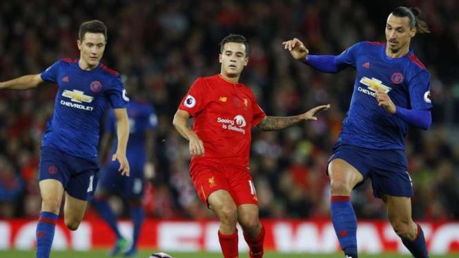 Pertandingan Liverpool kontra Manchester United.