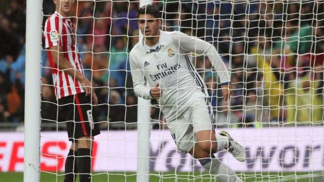 Striker Real Madrid, Alvaro Morata rayakan gol