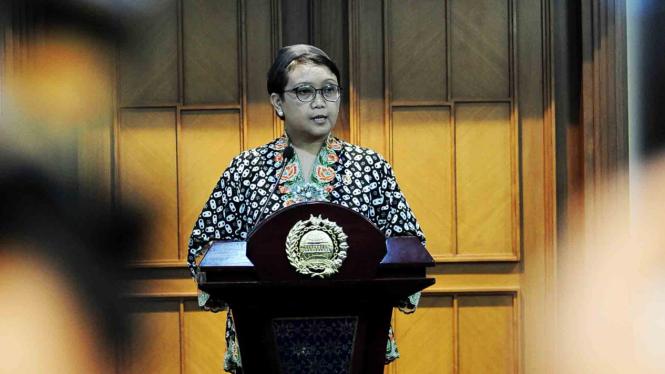 Menteri Luar Negeri, Retno L.P Marsudi, saat menyampaikan pernyataan pers.