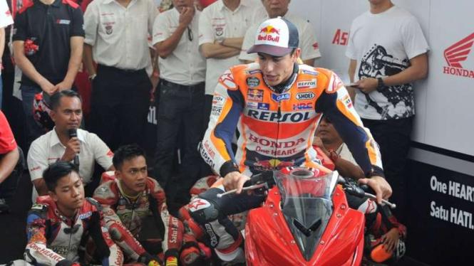 Pembalap Honda, Marc Marquez, saat di Sirkuit Sentul